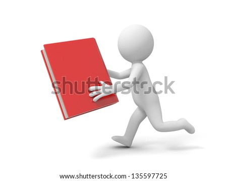 A 3d man running with a book in hand