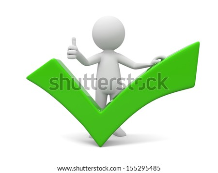 A 3d man showing thumb up with green check mark - stock photo