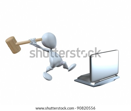 A 3d man smashing a notebook laptop computer