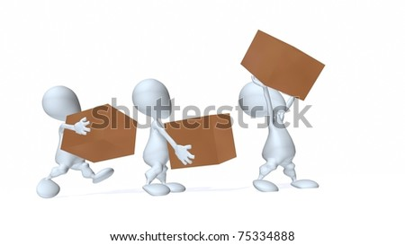 A 3d man supply chain - stock photo