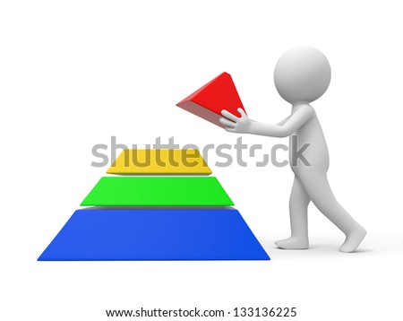 A 3d man taking the top of a pyramid model - stock photo