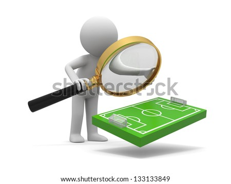 A 3d man watching a football field model with a magnifying glass - stock photo