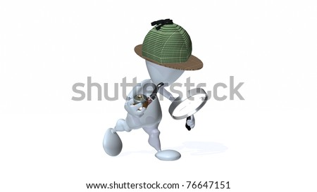 A 3d man with a magnifying glass