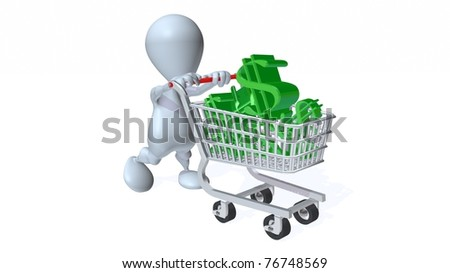 A 3d man with a shopping cart full of dollars - stock photo
