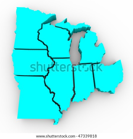 A 3d map of the Great Lakes region of states: Michigan, Ohio, Indiana, Illinois, Minnesota, Wisconsin, Iowa and Missouri - stock photo