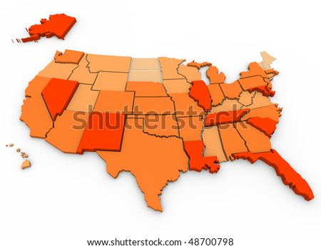 A 3d map of the United States, showing the states with the most violent crimes per capita in dark orange, and the states with the least in very light orange - stock photo
