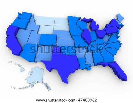 A 3d map of the United States, with the most populated states in dark blue and the least populated in light blue, data from 2000 U.S. Census - stock photo