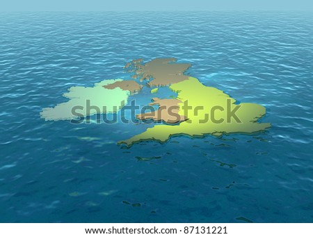 A 3D map of United Kingdom on the sea 2 - stock photo