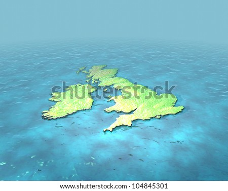 A 3D map of United Kingdom on the sea with contours - stock photo