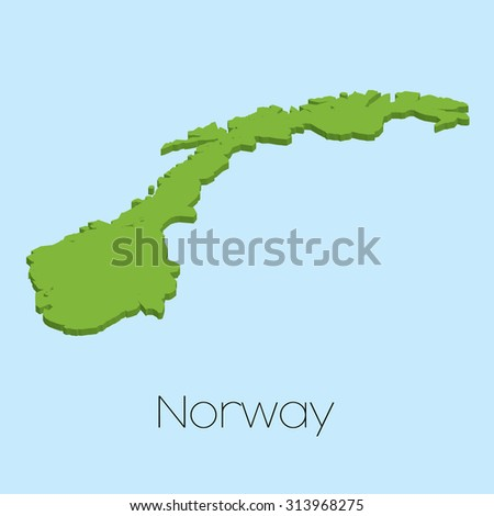A 3D map on blue water background of Norway