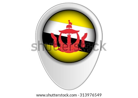 A 3D Map Pointer Flag Illustration of the country of  Brunei - stock photo