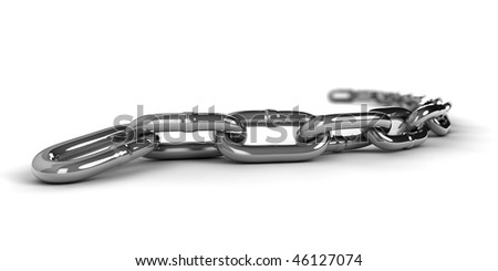 A 3d metal chain isolated on white background - stock photo