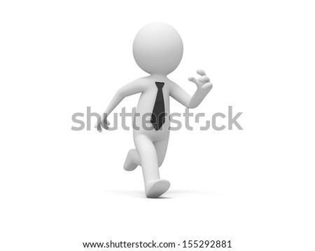 A 3d people, businessman  running isolated white background - stock photo