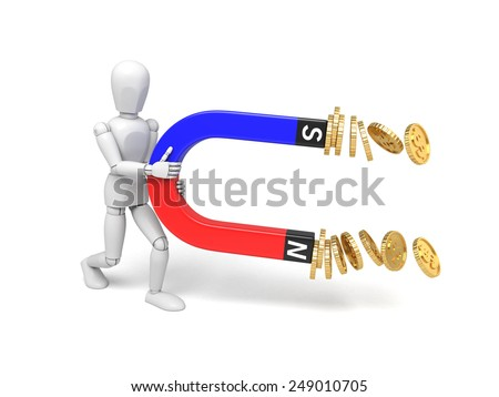 A 3d people collect coins with a magnet. 3d image. Isolated white background - stock photo