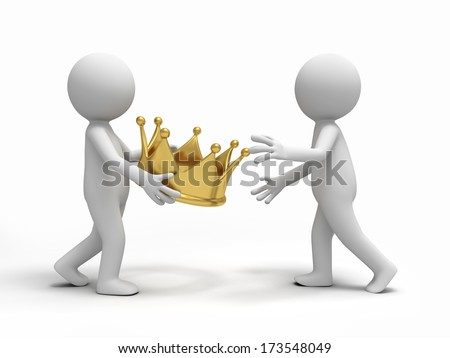 A  3d  people pass a crown to others - stock photo