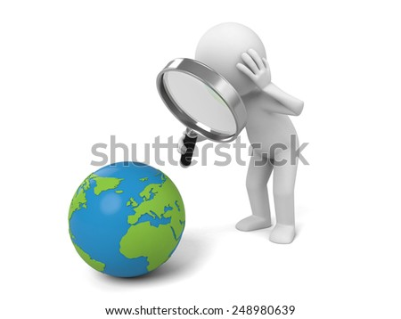 A 3d people searching a earth with a magnifier. 3d image. Isolated white background.