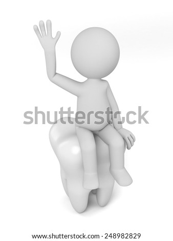 A 3d people sitting on a big tooth. 3d image. Isolated white background.