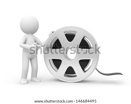 A 3d people standing at the film/ video - stock photo