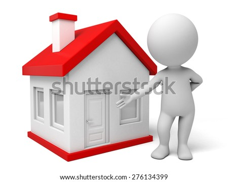 A 3d people standing near to the new house. 3d image. Isolated white background