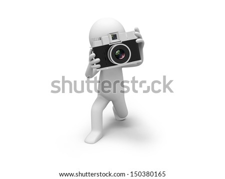 A 3d people taking a picture with a camera
