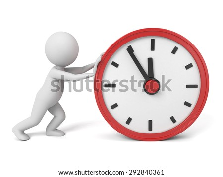 A 3d people with a big clock. 3d image. Isolated white background - stock photo