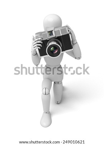 A 3d people with a camera. 3d image. Isolated white background