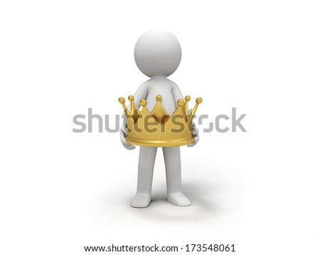 A 3d  people with a crown - stock photo
