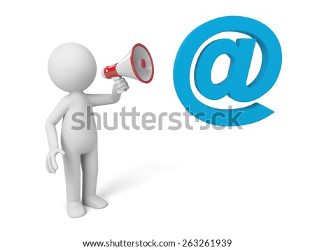 A 3d people with a email symbol. 3d image. Isolated white background