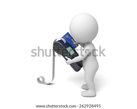 A 3d people with a POS Terminal.3d image. Isolated white background - stock photo