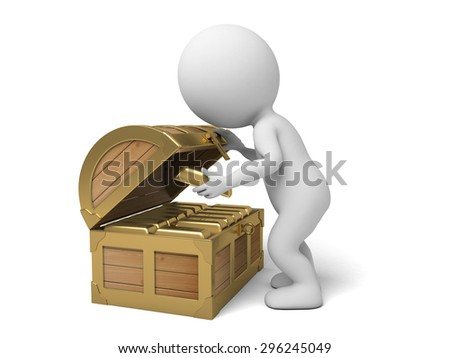 A 3d people with a treasure chest. 3d image. Isolated white background