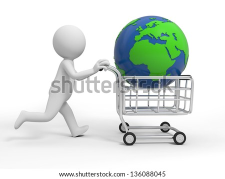 A 3d person/ a global in the shopping cart