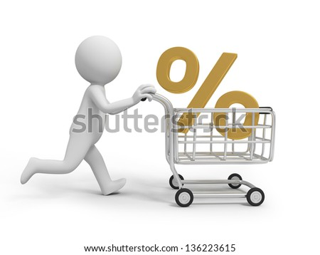 A 3d person/ a percent symbol in the shopping cart - stock photo