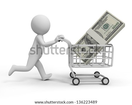 A 3d person/ a pile of money in the shopping cart