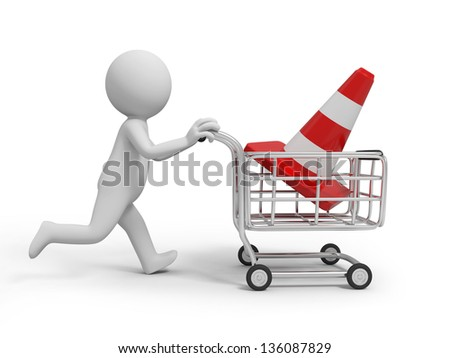 A 3d person/ a roadblock in the shopping cart - stock photo