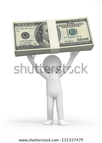 A 3d person holding a bundle of money
