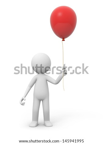 A 3d person holding a red balloon - stock photo