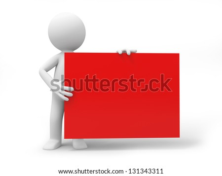 A 3d person holding a red board - stock photo