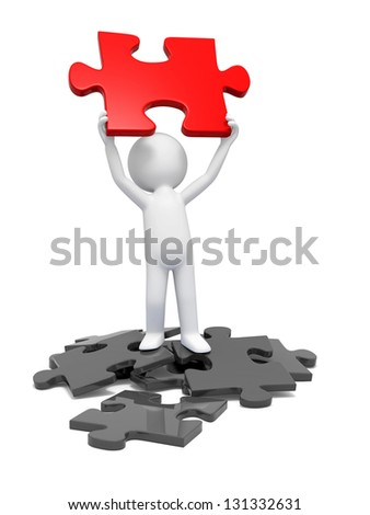 A 3d person holding a red  puzzle - stock photo