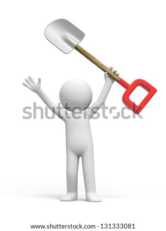 A 3d person is holding a shovel - stock photo