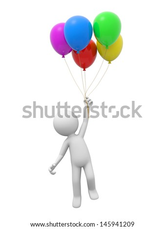 A 3d person jumping to hold five balloons - stock photo