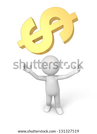 A 3d person looking up at a Currency symbol
