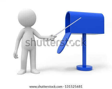 A 3d person pointing to a mail box