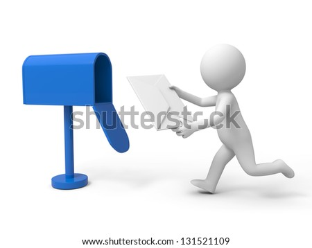 A 3d person posting a cover letter - stock photo