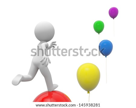 A 3d person running along the balloons - stock photo