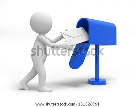 A 3d person sending a letter to the mail box - stock photo
