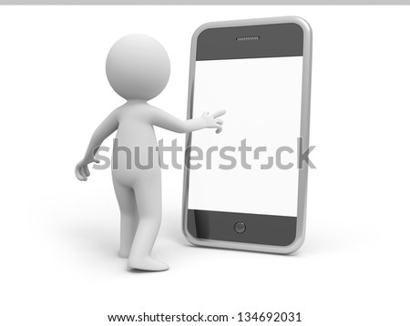 A 3d person standing face to the mobile phone - stock photo