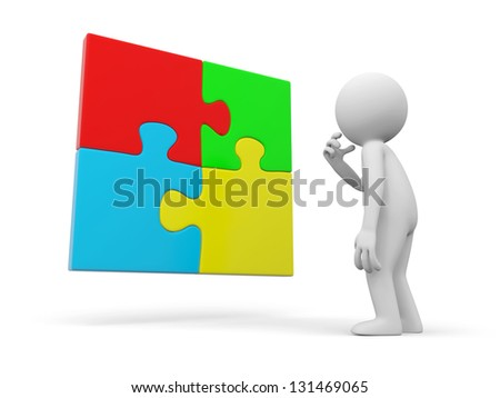 A 3d person thinking in front of a puzzle