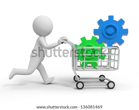 A 3d person/two gears  in the shopping cart - stock photo