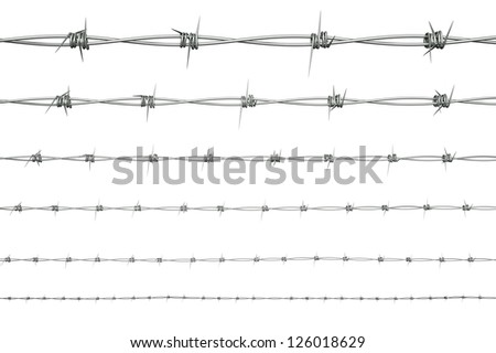 a 3d render barbed wire set - stock photo