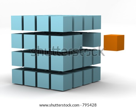 a 3d render of a conceptual scene (change or influence) - stock photo
